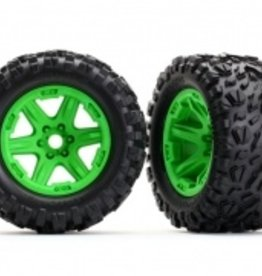 Traxxas Traxxas E-Revo Tires & wheels, assembled, glued (green wheels, Talon EXT tires, foam inserts) (2) (17mm splined) (TSM rated)