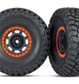 Traxxas Traxxas Unlimited Desert Racer Tires and wheels, assembled, glued (Desert Racer® wheels, black with orange beadlock, BFGoodrich® Baja KR3 tires) (2)