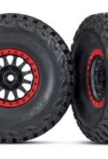 Traxxas Traxxas Unlimited Desert Racer Tires and wheels, assembled, glued (Method Race Wheels, black with red beadlock, BFGoodrich® Baja KR3 tires) (2)