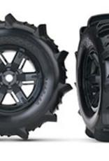Traxxas Traxxas X-Maxx Tires & wheels, assembled, glued (X-Maxx® black wheels, paddle tires, foam inserts) (left & right) (2)