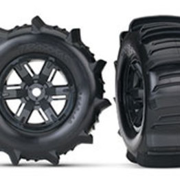 Traxxas Traxxas X-Maxx Tires & wheels, assembled, glued (X-Maxx® black wheels, paddle tires, foam inserts) (left & right) (2)