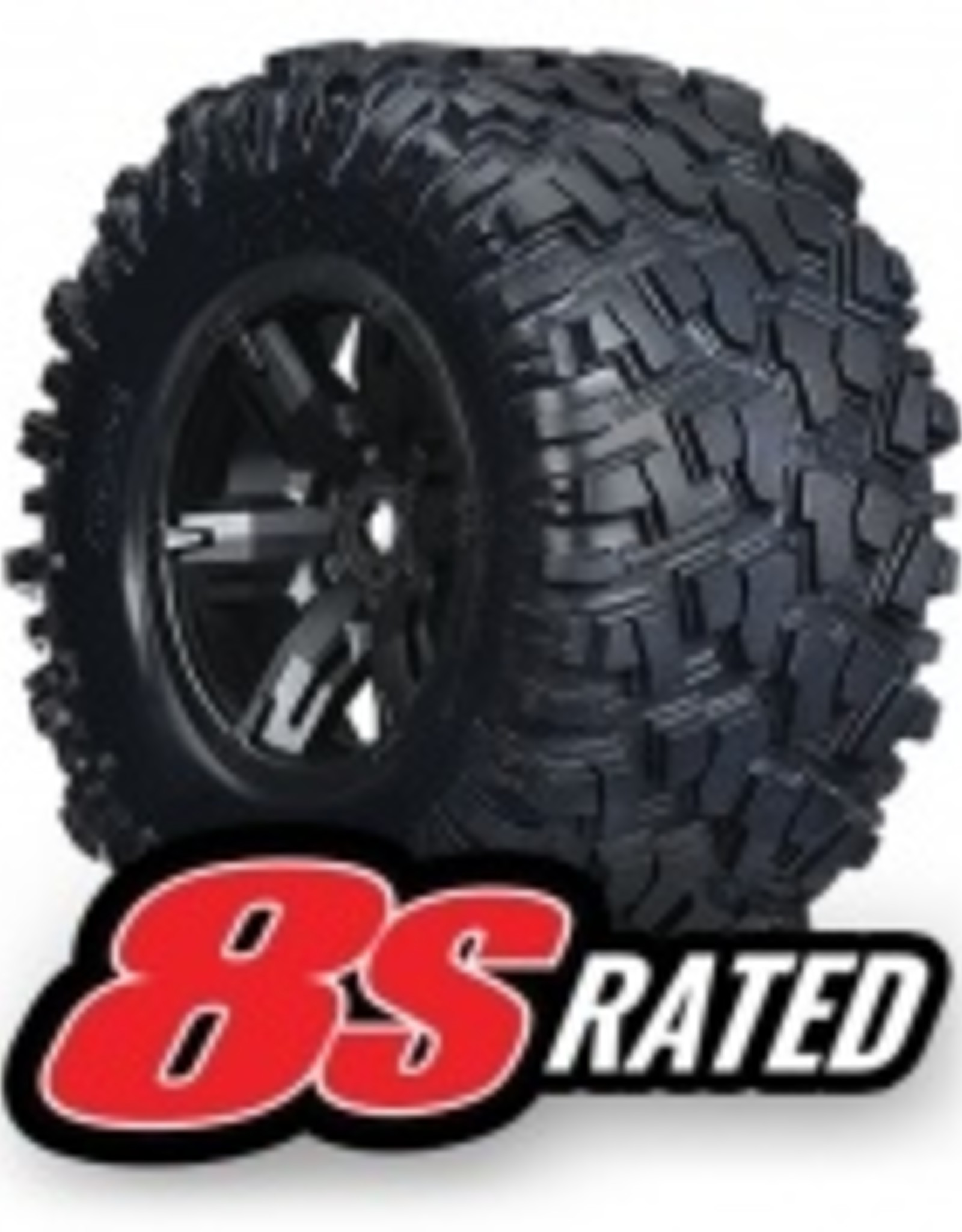 Traxxas Traxxas X-Maxx Tires & wheels, assembled, glued (X-Maxx® black wheels, Maxx® AT tires, foam inserts) (left & right) (2)