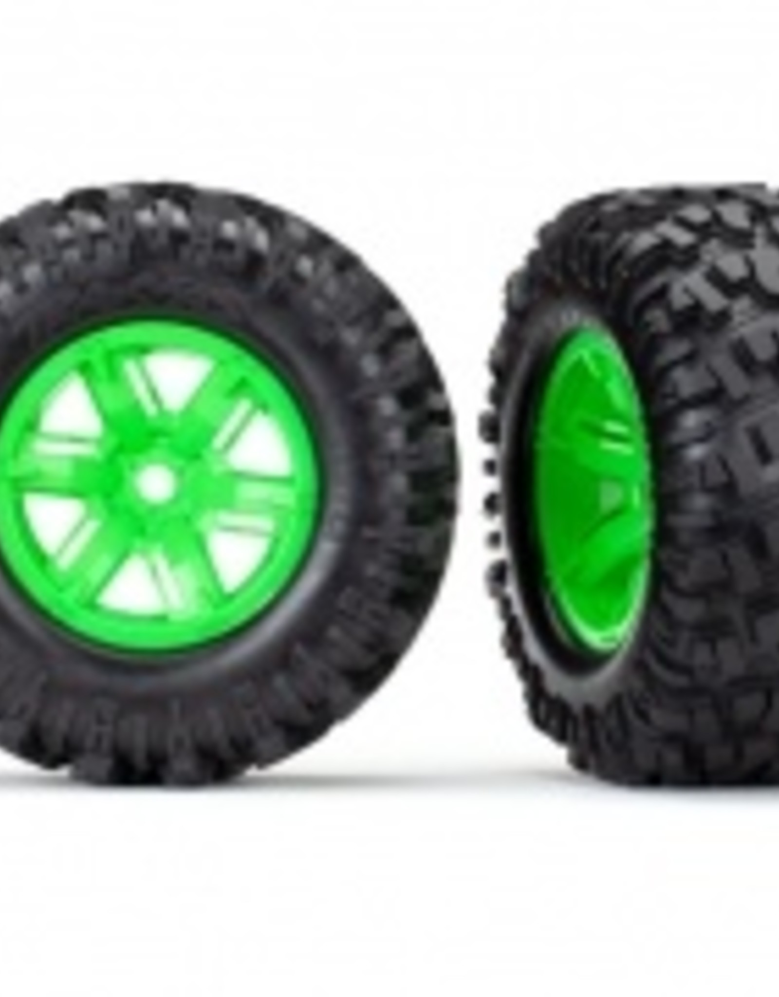 Traxxas Traxxas X-Maxx Tires & wheels, assembled, glued (X-Maxx® green wheels, Maxx® AT tires, foam inserts) (left & right) (2)