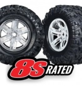 Traxxas Traxxas X-Maxx Tires & wheels, assembled, glued (X-Maxx® satin chrome wheels, Maxx® AT tires, foam inserts) (left & right) (2)