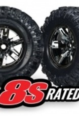 Traxxas Traxxas X-Maxx Tires & wheels, assembled, glued (X-Maxx® black chrome wheels, Maxx® AT tires, foam inserts) (left & right) (2)