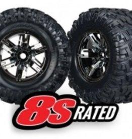 Traxxas Traxxas X-Maxx Tires & wheels, assembled, glued (X-Maxx® black chrome wheels, Maxx® AT tires, foam inserts) (left & right) (2)