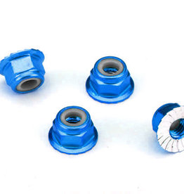 Traxxas Traxxas Nuts, aluminum, flanged, serrated (4mm) (blue-anodized) (4) TRA1747R