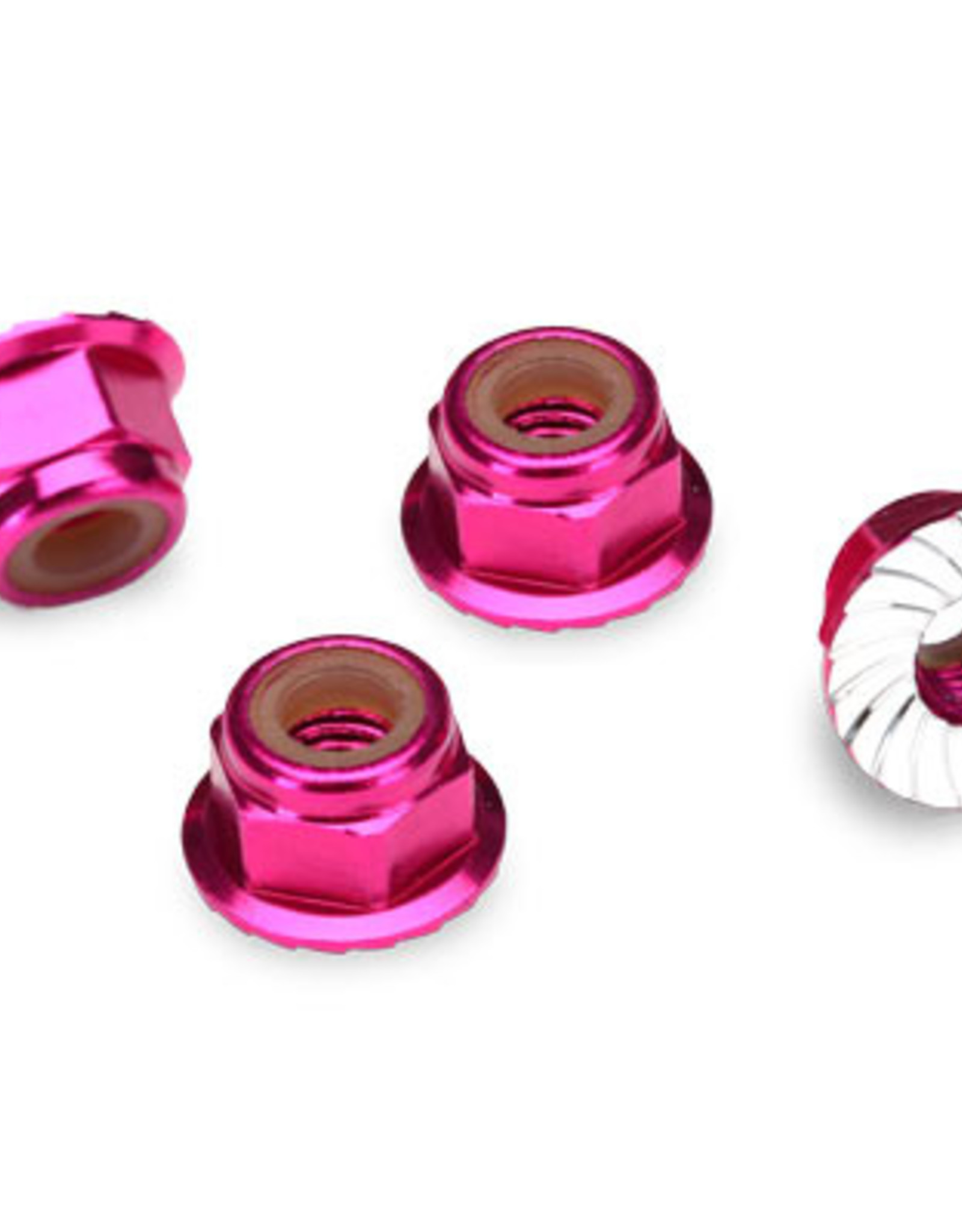 Traxxas Traxxas  Nuts, aluminum, flanged, serrated (4mm) (pink-anodized) (4) TRA1747P