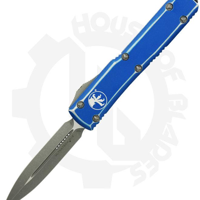 Microtech Ultratech D/E Stonewash 122-10DBL - Distressed Blue (Auto OTF Knife)