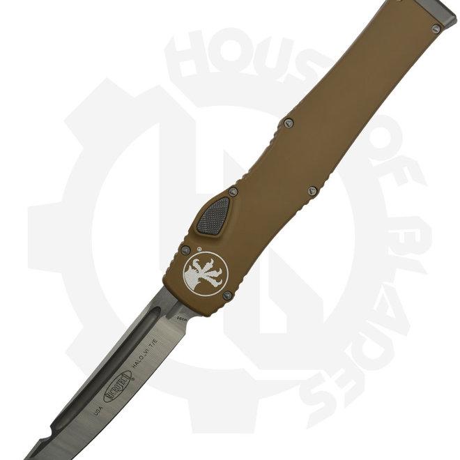Microtech Halo VI T/E Satin Std 250-4TA - Tan (Auto OTF Knife)