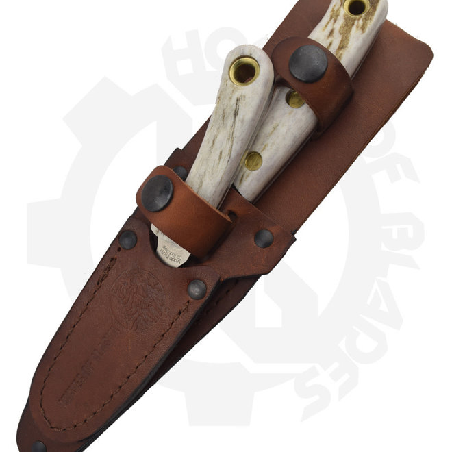 Knives of Alaska 00367FG Alpha Wolf/Cub Combo Stag Fixed Blade Knife