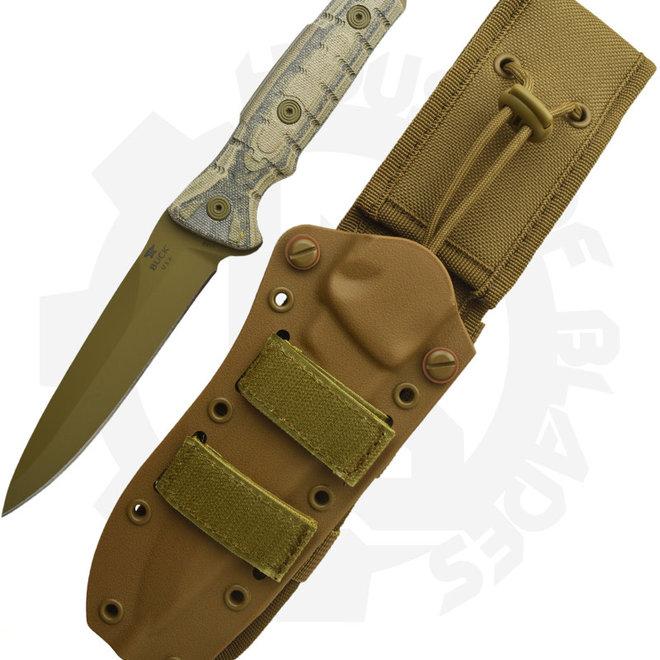 Buck Ground Combat GCK Spearpoint 0891BRS1 - Black, Green, Tan Micarta (Fixed Blade)