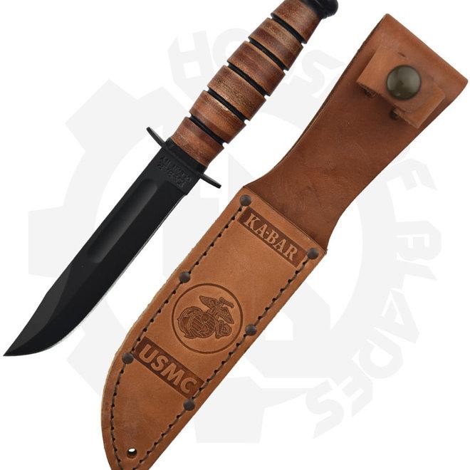 KA-BAR USMC 1250 Short Brown Fixed Blade Knife