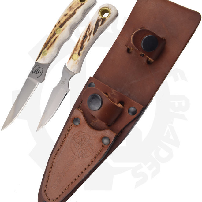 Knives of Alaska Jaeger/Cub Bear 00255FG Combo Stag Fixed Blade Knife