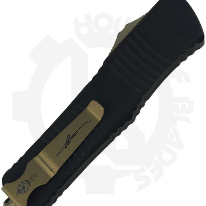 Microtech Combat Troodon Hellhound Bronze 219-13CF - Tan (Auto OTF Knife)