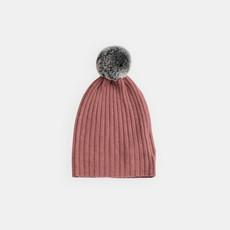 Belle Enfant Pompom Hat, Rabbit Fur Trim