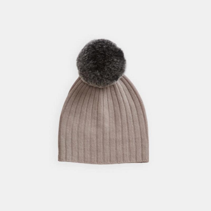 Belle Enfant Rib Hat with Rabbit Fur Pompom