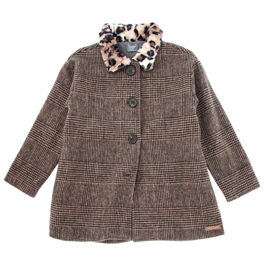tocoto vintage Checkered coat with fur neck