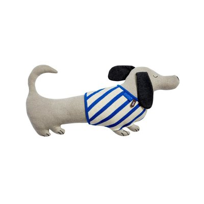 OYOY Slinkii Dog Cushion Beige Dark Blue