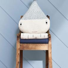 OYOY Rainy Cushion Pale Blue White