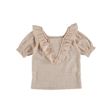 The new society Bouquet Check blouse