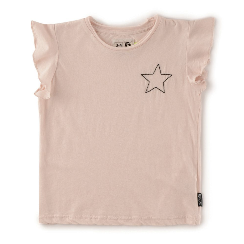 nununubaby embroidered star ruffled shirt
