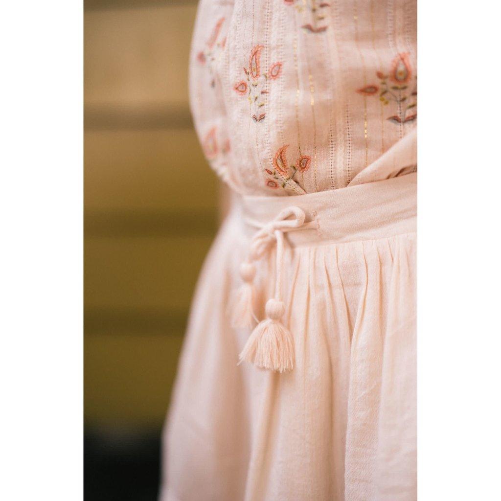 Bonheur Du Jour Mid Length Skirt with Flowers and pompom