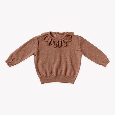Quincy Mae Petal knit sweater Clay