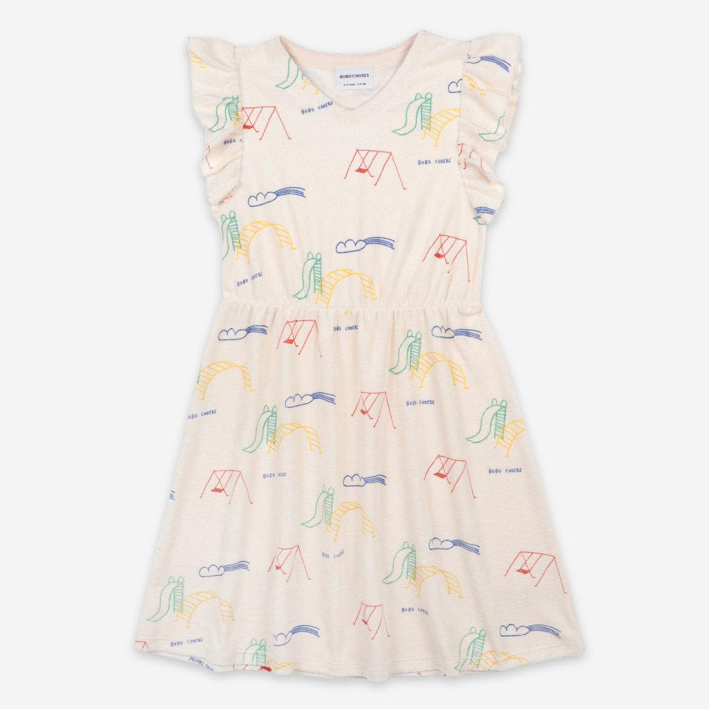 bobo choses Playground All Over Terry Fleece Ruffle Dress