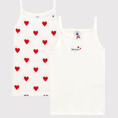 Petit Bateau Girls' Red Heart Pattern Organic Cotton Strappy Tops - 2-Pack