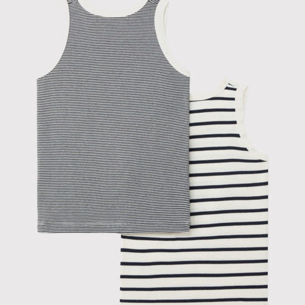 Petit Bateau Boys' Striped Organic Cotton Vests - 2-Pack
