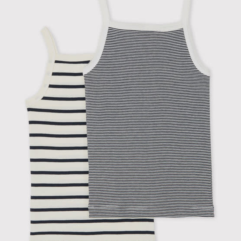 Petit Bateau Girls' Striped Organic Cotton Vest Tops - 2-Pack