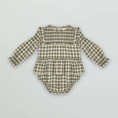 The new society Dominique baby romper herb check
