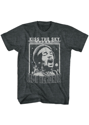 Jimi Hendrix Kiss the Sky Black Heather T-Shirt