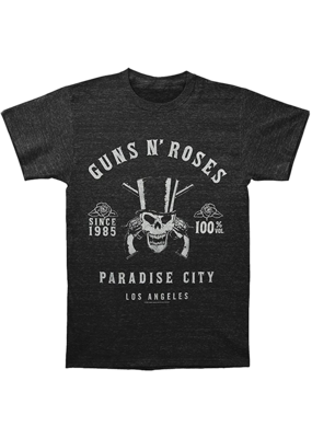 Guns N Roses - Skeleton L.A. Label Heather Charcoal  T-Shirt