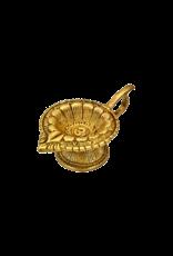 Lotus Om Brass Carved Cone Incense Burner
