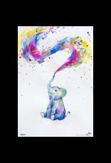 Elephant Paint Splash Poster