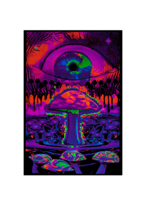"Mushroom with Eye Blacklight Poster 23""x35"""