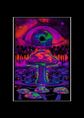 "Mushroom With Eye Blacklight Poster 24""x36"""