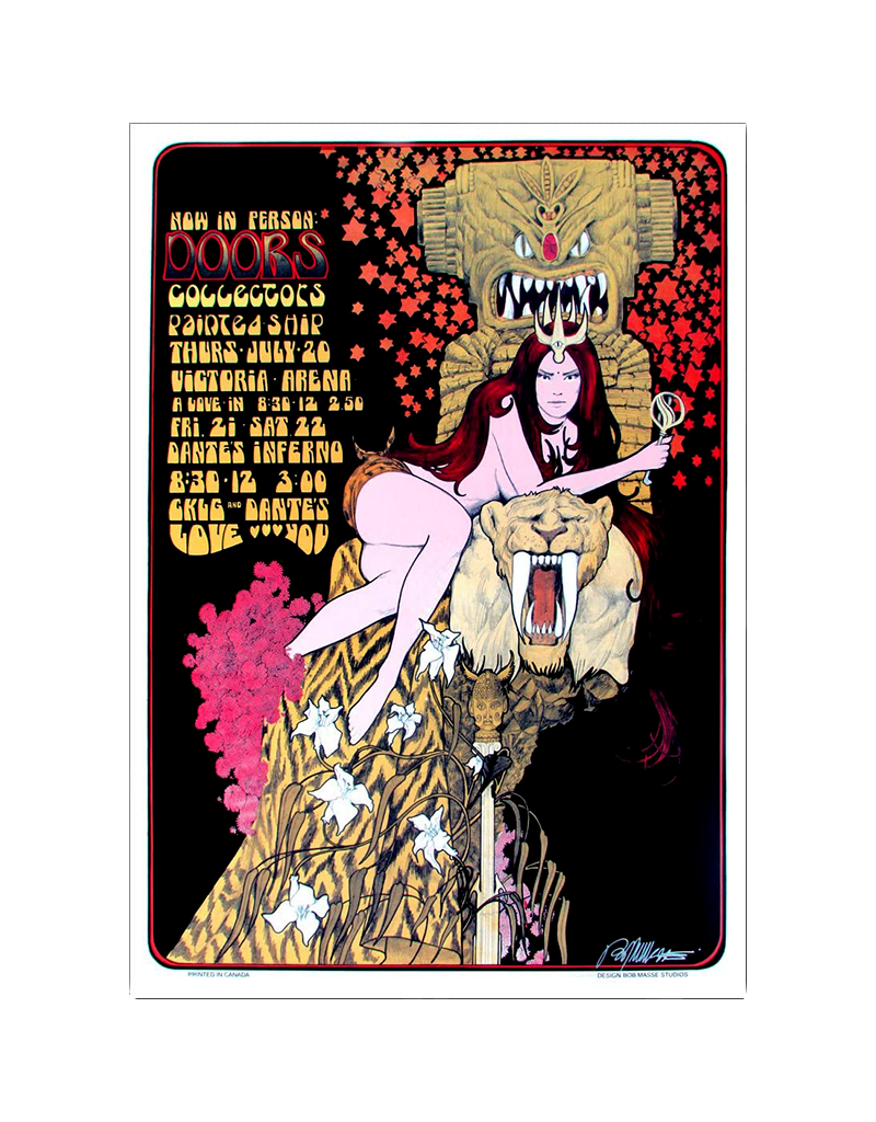 "Bob Masse - The Doors 1967 Concert Poster 13""x23"""