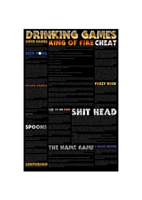 """Drinking Games Poster 24""""x36"""""""