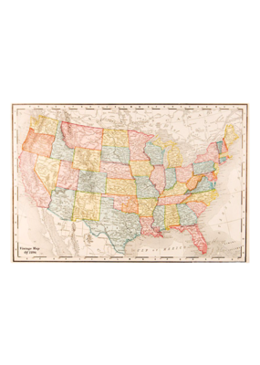 "Map Of USA Poster 36""x24"""