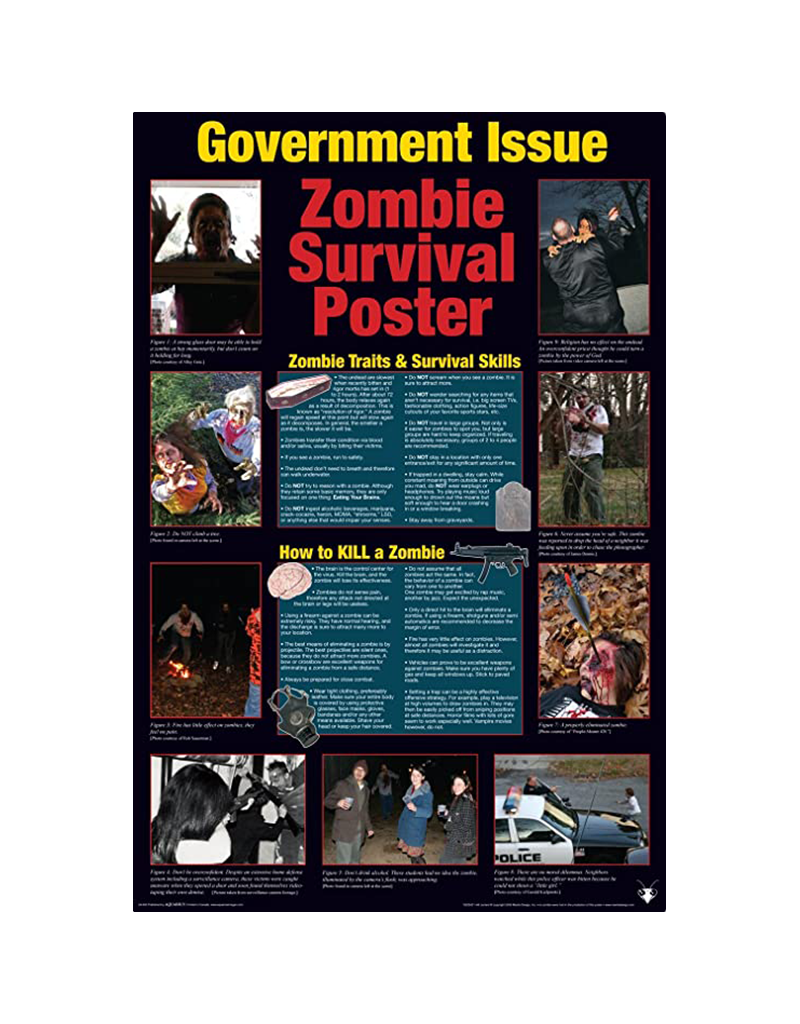 "Zombie Survival Guide Poster 24""x36"""