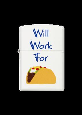 Will Work for Tacos - Zippo Lighter