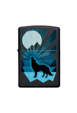 Wolf and Moon Black Matte - Zippo Lighter