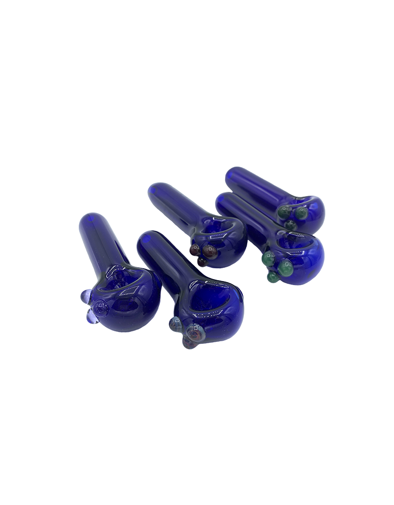 """3.25"""" GlasseX Lollipop Hand Pipe Blue With Color Accents"""