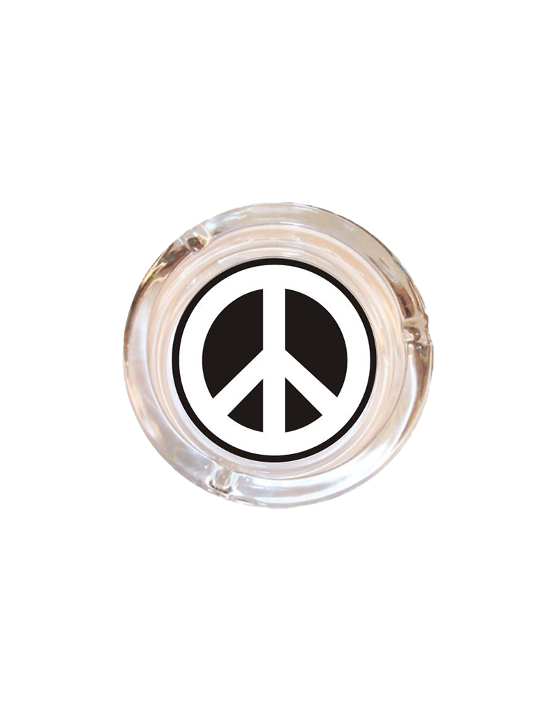 "4"" Diameter Peace Sign Glass Ashtray"