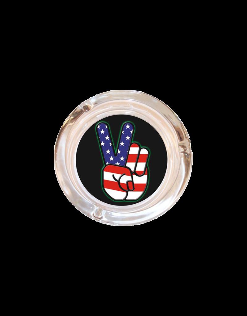 "4"" Diameter American Flag Peace Fingers Glass Ashtray"
