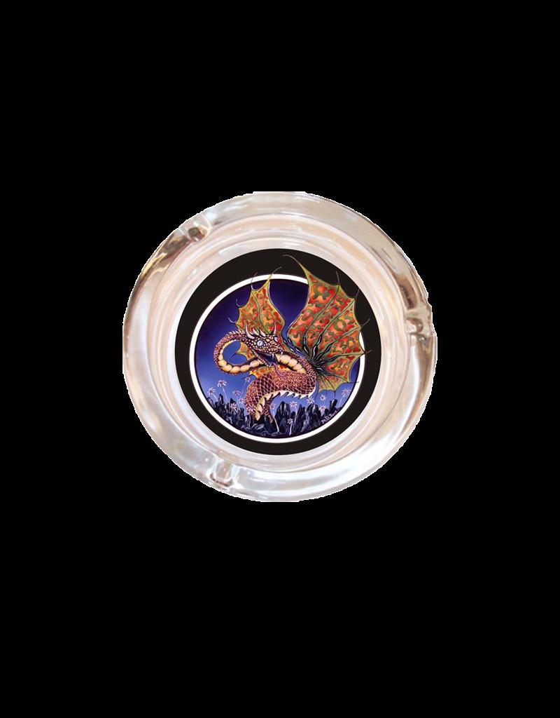 "4"" Diameter Dragon Mike Dubois Glass Ashtray"