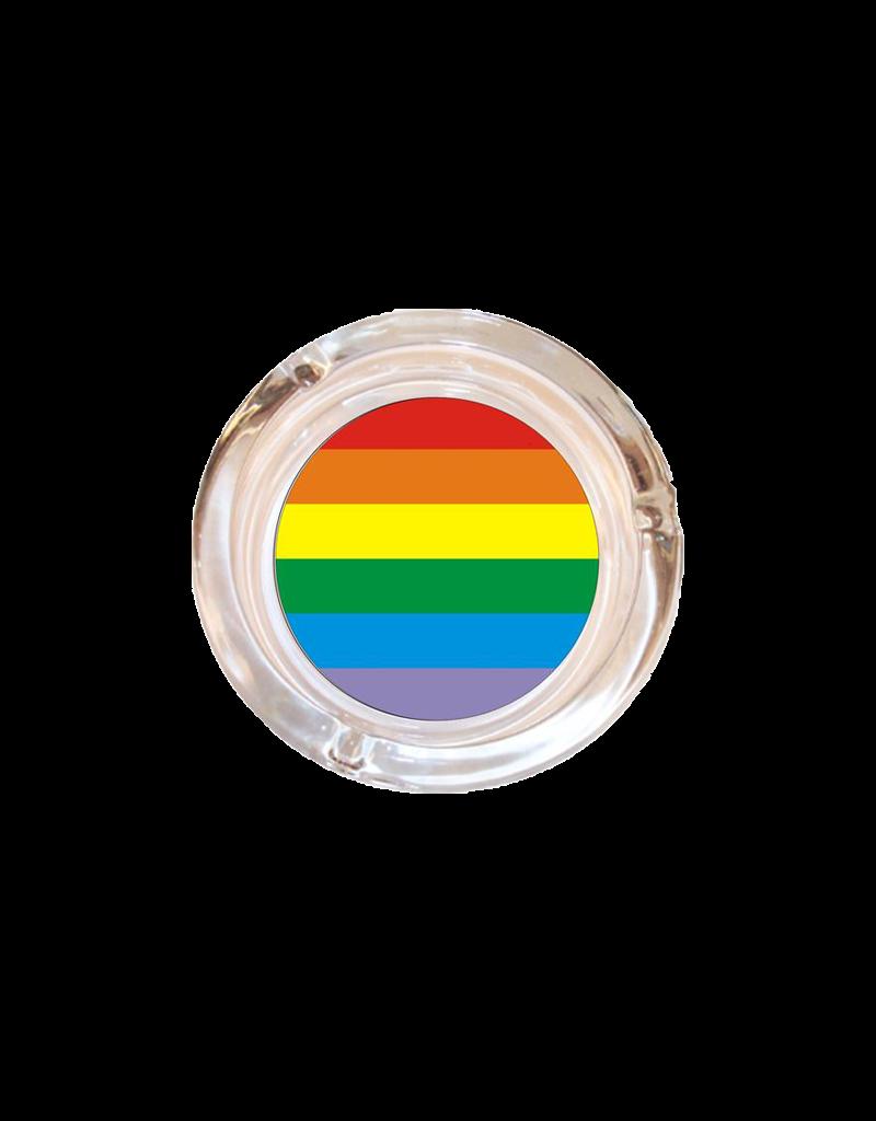 "4"" Diameter Rainbow Glass Ashtray"